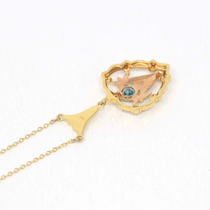 Vintage Zircon Necklace 1940s Era Genuine .70 CT Blue Gem Fine Rose Jewelry Sale Retro 10k Yellow Gold Heart Floral Gemstone Pendant