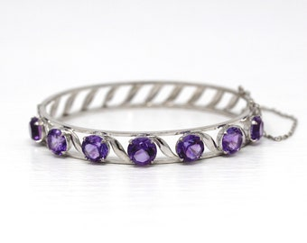 Genuine Amethyst Bracelet - Vintage 10k White Gold 9.35 Carat Purple Gems Bangle - Retro 1960s Hinged February Birthstone 60s Fine Jewelry