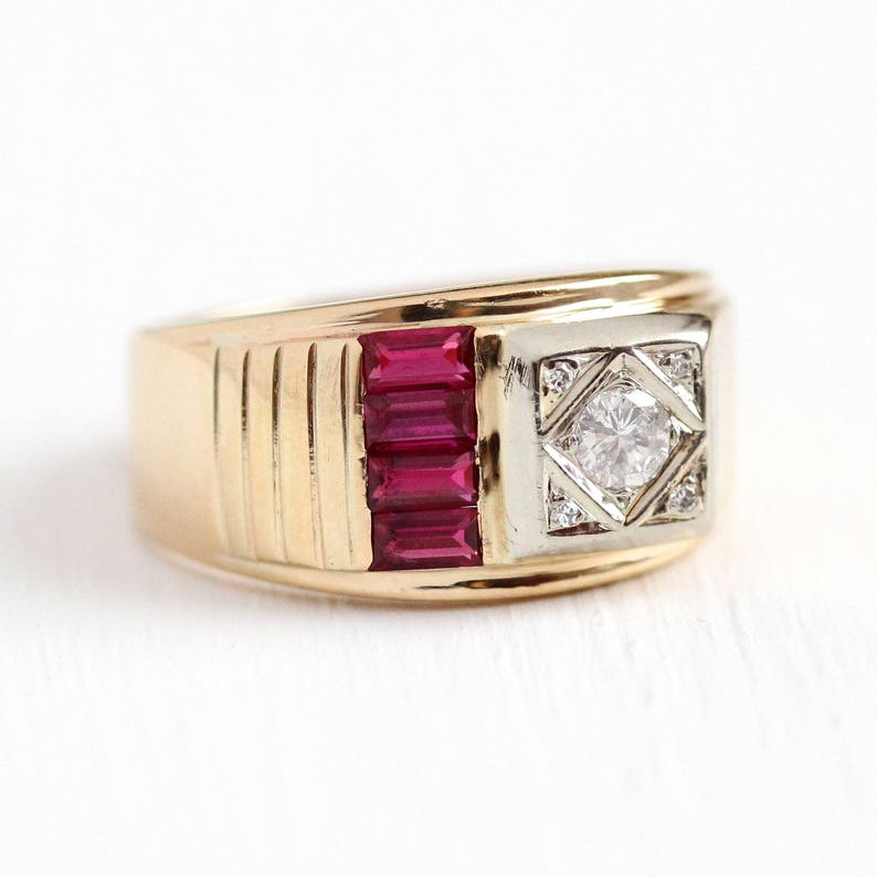 4306500b96386 Sale - Vintage Men's Ring - 14k Yellow & White Gold Genuine Diamond +  Created Ruby Statement - Retro 1940s Size 8 Two Tone Red Stone Jewelry