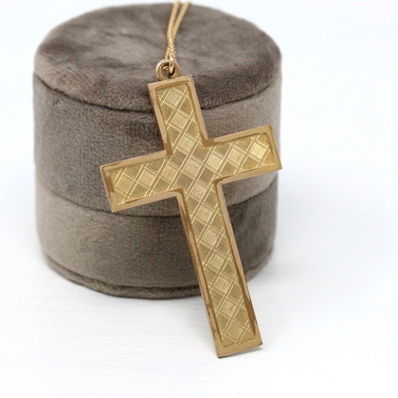 CROSS CRUCIFIX PENDANT charm for necklace in sterling silver 925 and amber stone In gift box 1970s