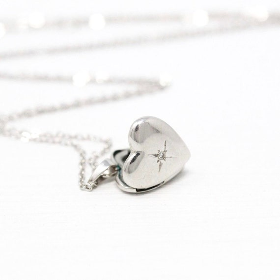 Diamond Heart Locket - Retro 14k White Gold Star I