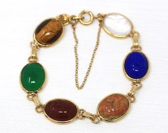 Vintage Scarab Bracelet - Retro 12k Gold Filled Carved Genuine Gemstones - Circa 1960s Era Egyptian Revival Style Panel Linked 60s Jewelry
