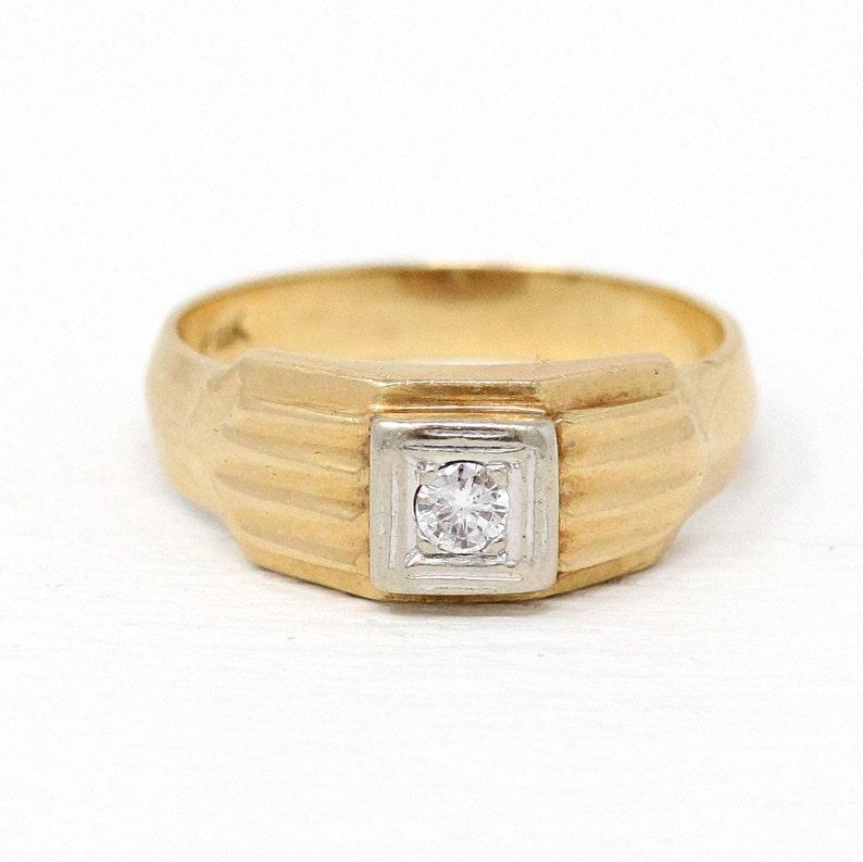 9e0457b313116 Sale - Vintage Men's Ring - 14k Yellow & White Gold Diamond Ring - Retro  1950s Size 9 1/4 Two Tone .13 CT Wedding Band Classic Fine Jewelry