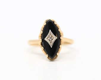 Vintage Onyx Ring - 10k Yellow Gold Genuine Diamond & Marquise Cut Black Gem - Retro Era 1960s Size 6 Gemstone 60s Classic Fine Jewelry