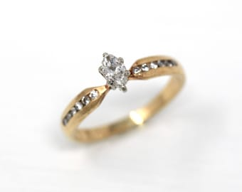 Vintage Marquise Diamond Ring - 14k Yellow White Gold .31 CTW Engagement - Size 6 1/4 Bridal Wedding Two Tone 1980s Channel Set Fine Jewelry
