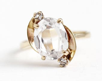 Sale - Created Spinel Ring - 10k Rosy Yellow Gold Oval White Synthetic 2 + Carat Three Stone - 1950s Size 5 1/4 Statement 50s Fine Jewelry