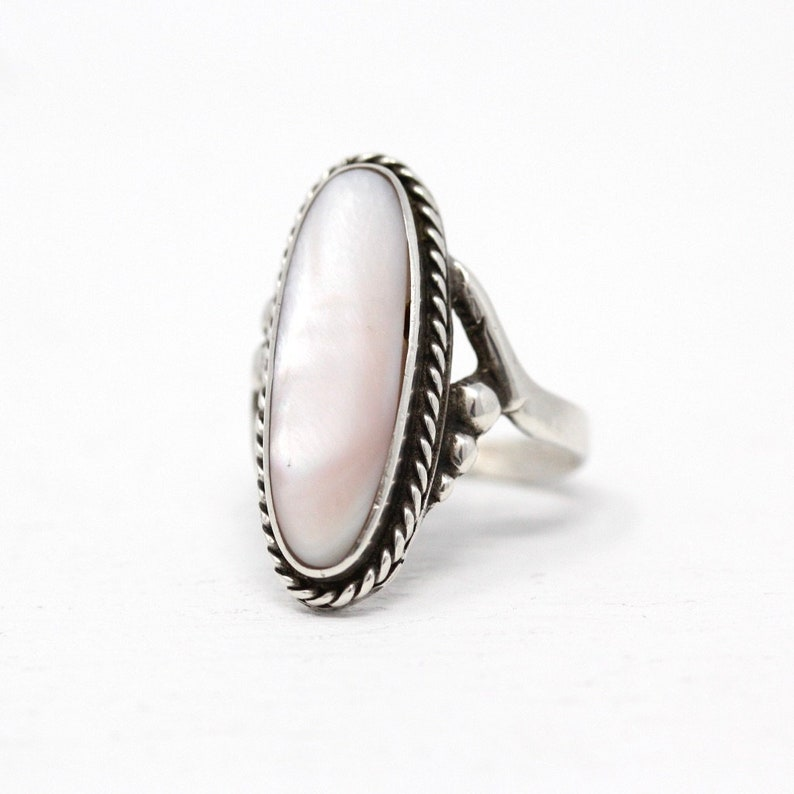 898b64958b7ce Sale - Mother Of Pearl Ring - Retro Sterling Silver Genuine Pink Gemstone -  Vintage 1970s Size 5 1/2 Shell Gem Southwestern 70s Jewelry