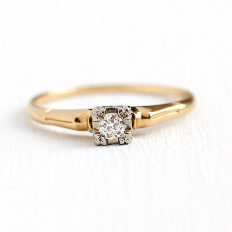 0527f1a794d94 Sale - Vintage Diamond Ring - 14k & 18k Yellow White Gold .13 Carat OEC  Diamond Solitaire Ring - 1940s Size 9 3/4 Engagement Fine Jewelry