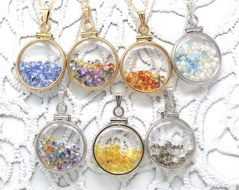 Custom Shaker Locket - Sterling Silver, 14k Gold Filled Genuine Gemstone Necklace Pendant, Choose Gems - Bespoke Birthstone Mother's Jewelry