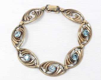 Vintage Zircon Bracelet - 14k Yellow Gold on Sterling Silver 4.25 CTW Genuine Blue Gem Panels - 1940s Symmetallic Vermeil Two Tone Jewelry