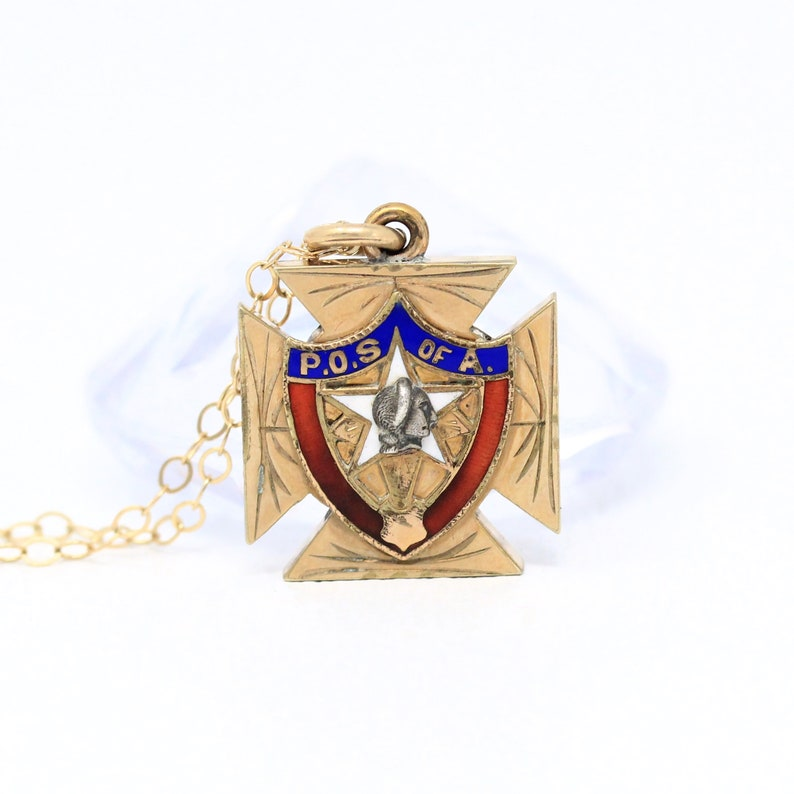Sale Vintage Rosy Yellow Gold Filled Enamel Order of Sons of America Fob Dated 1910 Era POS of A Maltese Cross Antique Emblem Necklace