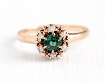 Garnet Doublet Ring - Victorian 10k Rosy Yellow Gold Green Stone Seed Pearl Halo Cluster - 1900s Size 6 3/4 Shafer and Douglas Fine Jewelry