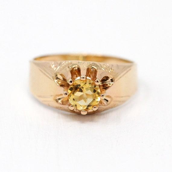 Vintage 1910 Sz 9 12 Engraved Unisex Jewelry Edwardian 14k Gold Shell Belcher Setting Genu .79 CT Gemstone Sale Antique Citrine Ring
