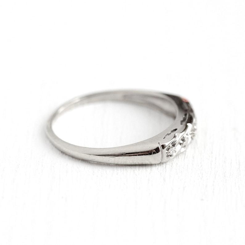 14k White Gold Retro Diamond Ring Vintage Wedding Band Sale Size 7 Mid-Century 1950s Fine Bridal Stacking Three Stone 50s Jewelry