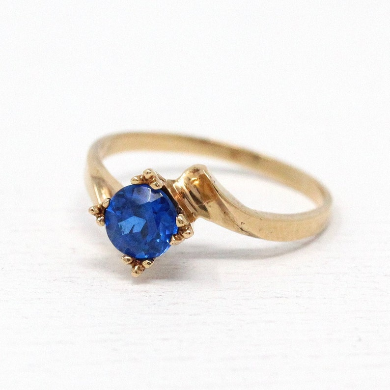 10k or 14k Real Gold Simulated Sapphire September Birthstone Mens Ring