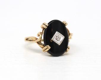 Vintage Onyx Ring - Retro 10k Yellow Gold Genuine Black Gemstone Diamond .02 CT Gem - Circa 1940s Era Size 4 3/4 Statement Fine 40s Jewelry