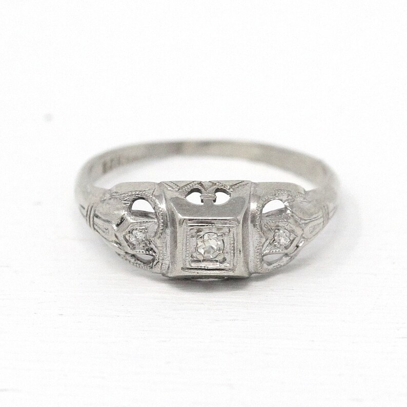 Sale Vintage Diamond Ring 10k White Gold Size 6 1 2 Art Etsy