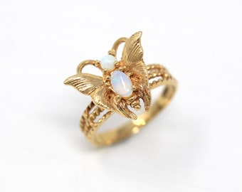 Estate Butterfly Ring - Modern 14k Yellow Gold Genuine .22 CTW Opal Gemstones - 1990s Size 4 3/4 Statement Figural Winged Bug Fine Jewelry