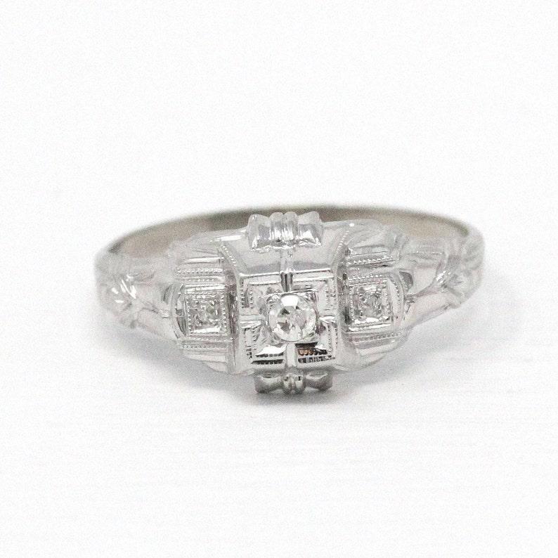 1eee40d38189c Sale - Vintage Engagement Ring - 10k White Gold Three Diamond Milgrain -  Size 7 Illusion Head 1930s Art Deco Promise Wedding Etched Jewelry