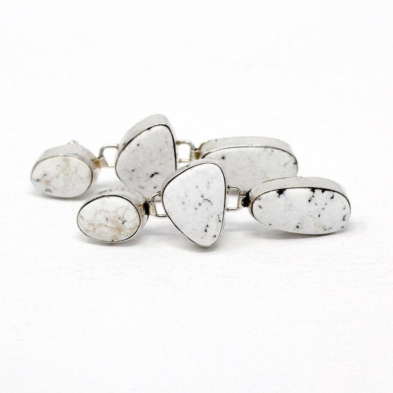Retro Estate Pierced Dangle Drop Native American Jewelry Sterling Silver Earrings Etsitty Southwesten White Gemstone Statement Signed E