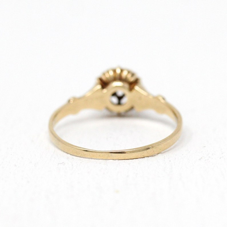 Size 5 14 Vintage 1900s Floral Engagement Jewelry Antique Diamond Ring Sale Edwardian 14k Rosy Yellow Gold Genuine 110 CT Old Mine