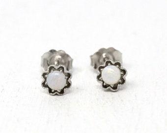 Genuine Opal Earrings - Recycled Sterling Silver Handcrafted Pierced Posts Flower Studs - MJV Design .40 CTW October Birthstone Gem Jewelry