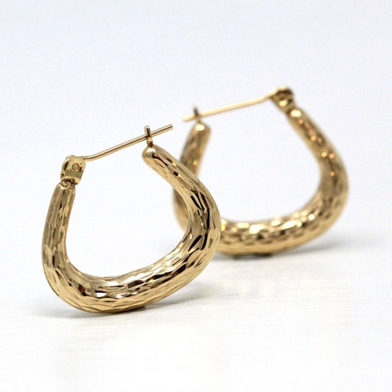 EAR4072 Details about  /14K Yellow Gold Door Knocker Style Hoop Earring Jackets 1.6 Grams