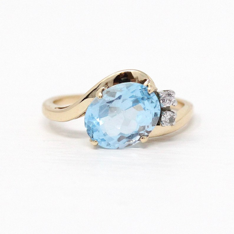 ab72c74619b65 Vintage Bypass Ring - Retro 10k Gold Genuine Oval Faceted Blue 3.6 CT Topaz  Gemstone - 1960s Size 7 1/4 White Sapphire Accents Fine Jewelry