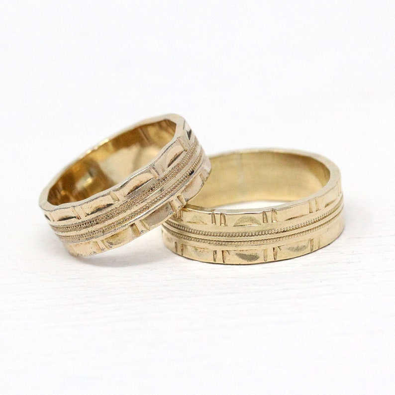 Vintage Ring Band - Retro 12k Rosy Yellow Gold Filled 1950s Wide Cigar Band  Stacking Statement - Size 5 3/4 Or 7 3/4 Eternity 50s GF Jewelry