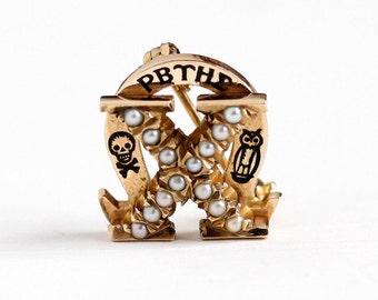 Sale - Chi Omega Sorority - Vintage 10k Rosy Yellow Gold Skull Crossbones & Owl Pin - 1946 Seed Pearl Black Enamel Fraternal XΩ Fine Jewelry