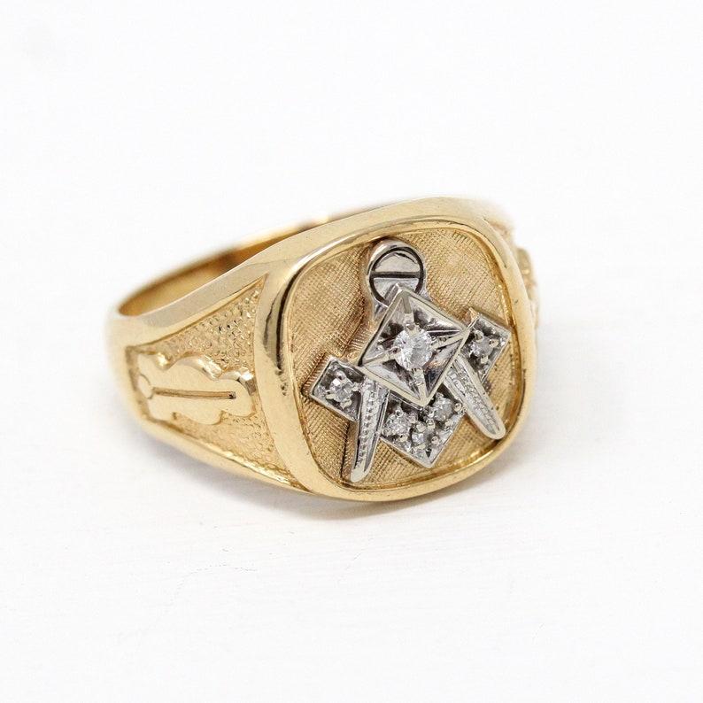 6cc38c95553ea Sale - Vintage Mason Ring - 10k Rosy Yellow White Gold Genuine Diamond  Signet - 1950s Size 10 1/2 Men's Statement Two Tone Fraternal Jewelry