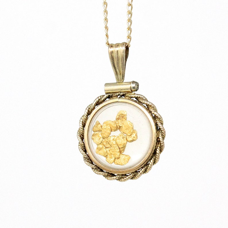 7d11aa67a9458 Sale - Gold Nugget Necklace - Estate 12k Gold Filled Shaker Fob Pendant  Charm - 1980s Era Vintage Alaska Souvenir Gold Rush Flakes Jewelry