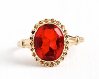 Sale - Simulated Ruby Ring - Vintage 10k Rosy Yellow Gold Art Deco 1940s Size 5 1/4 - Oval Cut Red Glass Fine Esemco July Birthstone Jewelry