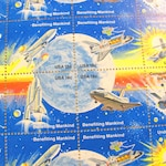 Space Achievement Full Sheet of 48 UNused Vintage US Postage Stamps Moon Saturn Cassini Shuttle Satellite Astronomy Astronaut Astrophilately
