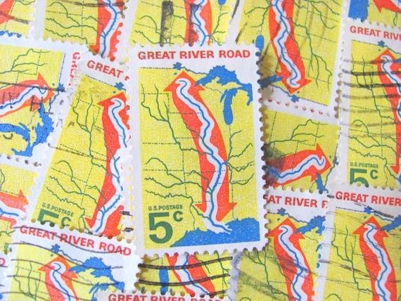 Mississippi River 30 Vintage U.S. Briefmarken 5-Cent große River Road U.S.  Karte Midwest tiefen Süden südlichen Staaten Golf von Mexiko Scrapbooking
