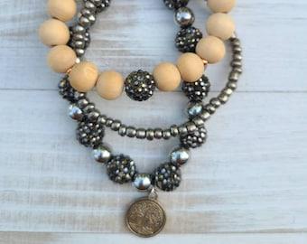 Shamballa Beaded Bracelet Trio Tree of Life Bracelets