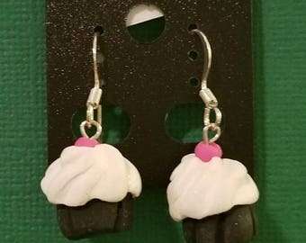 Cherry on Top Cupcake Earrings/Vanilla/Chocolate/Polymer Clay/Pink