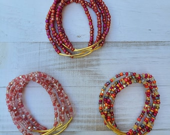 Five Stacked Bracelet, Fall Seed Bead Mix and Gold Tubed Beaded Bracelets