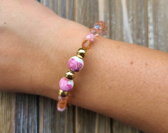 Pink Rose Bead and Pink Glass Bead Mix Bracelet
