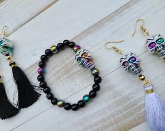 Metallic Skull Bracelet and Earrings, Halloween Jewelry Sets, Biker Chick Jewelry