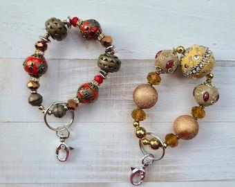 Chunky Beaded Wristlet, Chunky Beaded Keychain, Beaded Keychain Wristlet, Key Holder, Keychain, Key Accessory, Chunky Bracelet