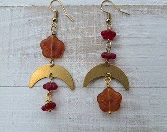Mismatched Gold Cresent Moon and Flower Dangles