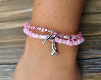 Pink Breast Cancer Awareness Stretch Bracelets