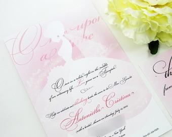 disney princess bridal shower invitation ombre blush