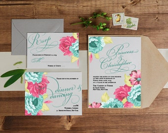 Spring Wedding Invitation, Rose wedding invitation, Floral Wedding Invitation, Garden Wedding invitation, Botanical invitation