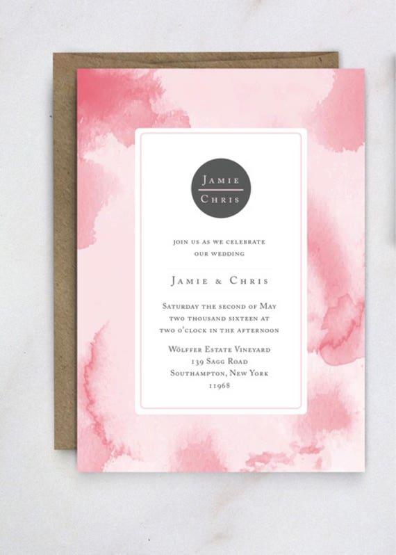 Watercolor Wedding Invitation Template Invite Invites Printable Print At Home