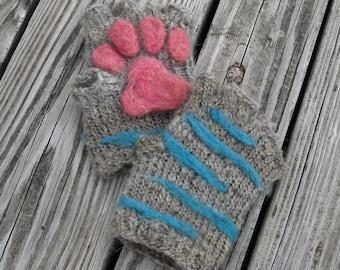 Cheshire Cat Paw Gloves - Needle Felt and Knit