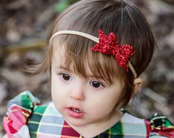 READY TO SHIP, Red Premium Glitter Bow on Nylon Headband or Clip, Newborn, Smash Cake, Infant, Toddler, Classic Bow, First Birthday, Holiday