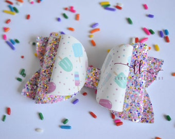READY TO SHIP Popsicles Faux Leather and Glitter Stacked Izzy Style Bow, Nylon Headband or Clip, Smash Cake, Sparkle Bow, Popsicle Hair Bow