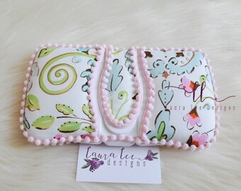 Love Bird Damask with Pink Mini Pom Trim Flip Top Travel Baby Wipe Case, Nappy Wipe Case, Pop Top Wipecase, Wipe Holder, Small Wipe Clutch